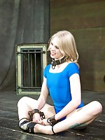 Sarah Jane Ceylon arrived in a pretty blue outfit and perfect, unblemished skin. Our little bondage ballerina won't keep either of those for long. As pretty as she is, no one wants to see her standing around, minding her own business. We want to see her s